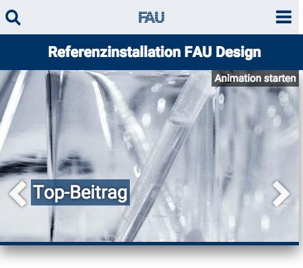 Screenshot der Darstellung einer Website unter 480 Pixel