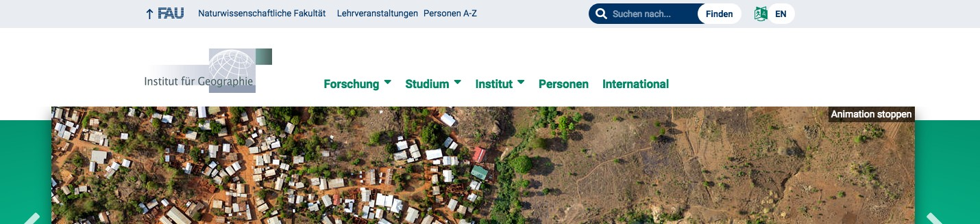 Screenshot einer Website mit Ausschnitt des Kopfteils